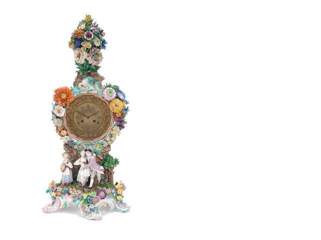 A large Meissen clock case, circa 1860