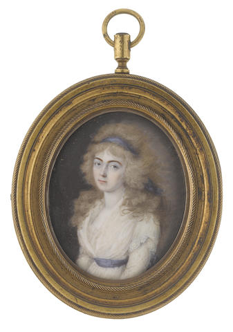 Circle of Peter Eduard Stroely (German, 1768-circa 1826) A Lady, wearing white dress, blue waist sash, her powdered hair worn à la conseilleur and dressed with a matching bandeau