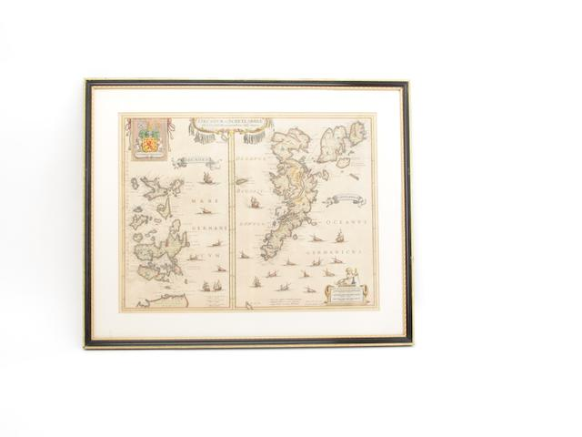 MAP ORKNEYS AND SHETLAND JANSSONIUS (JOANNES) Orcadum et Schetlandiae insularum accuratissima descriptio
