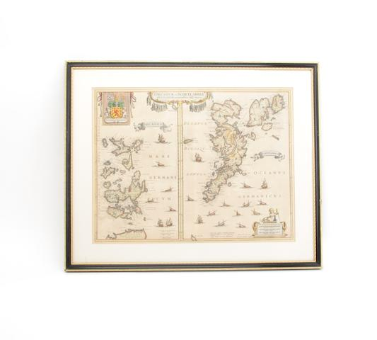 MAP ORKNEYS AND SHETLAND JANSSONIUS (JOANNES) Orcadum et Schetlandiae insularum accuratissima descriptio