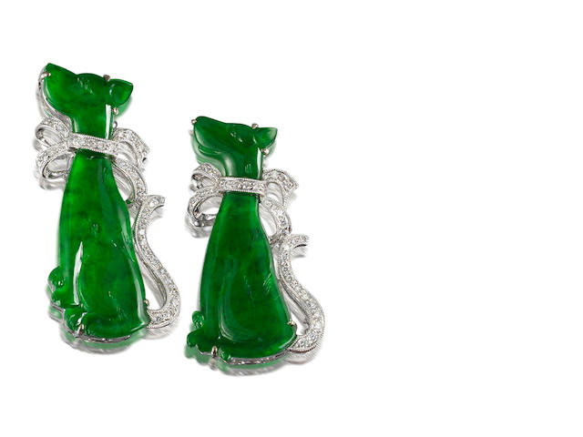 A pair of jadeite and diamond brooches (2)