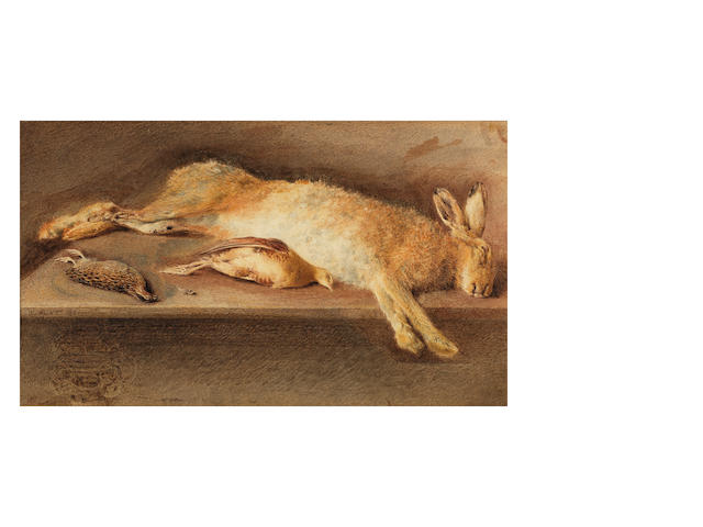 William Henry Hunt, OWS (British, 1790-1864) A dead rabbit and other game on a ledge