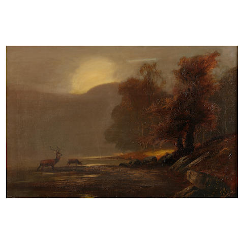 English School, 19th Century Highland landscape with stags by a river