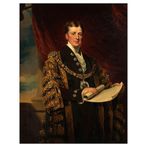 Mary Martha Pearson (British, 1799-1871) Portrait of William Taylor Copeland, M.P., Lord Mayor of London 1835 three quarter length, standing, wearing mayoral robes