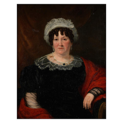 19th Century School Portrait of a woman in a black dress and red shawl
