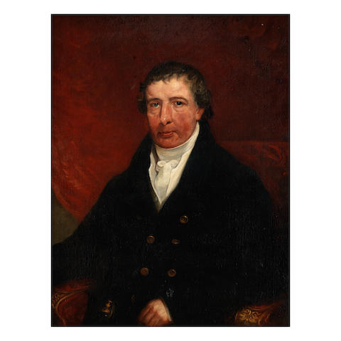English School, 19th Century Portrait of a gentleman half length, seated, in a black coat,