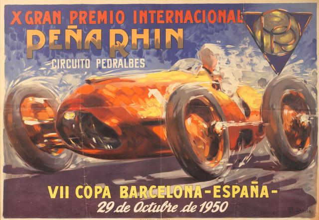 A 'X Gran Premio Internacional Pena Rhin' poster, 1950,