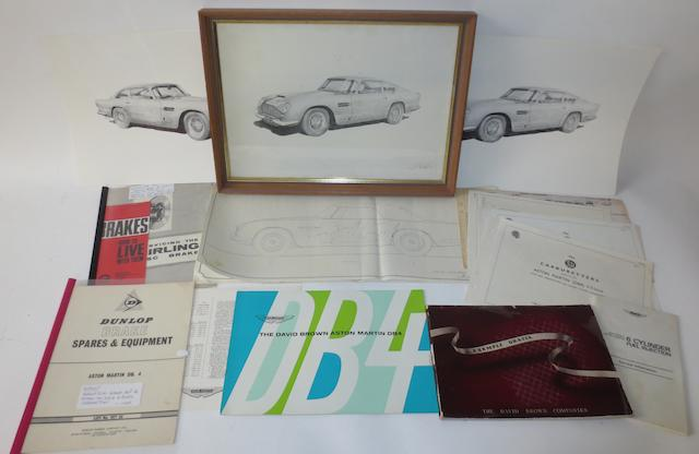 An Aston Martin DB4 sales brochure and related ephemera,