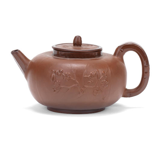 A very rare Meissen Böttger stoneware teapot and cover, circa 1710-13