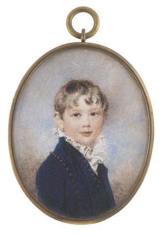 William Wood (British, 1769-1810) Walter Farquhar Fullerton (b.1801), wearing blue Eton suit and white chemise with frilled collar