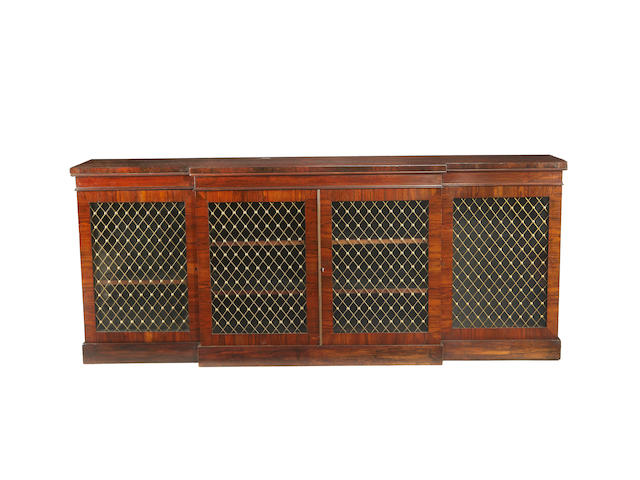 A Regency style rosewood breakfront side cabinet