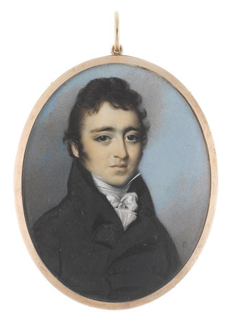 George Engleheart (British, 1750-1829) A Gentleman, wearing double-breasted black coat, white chemise, stock and cravat