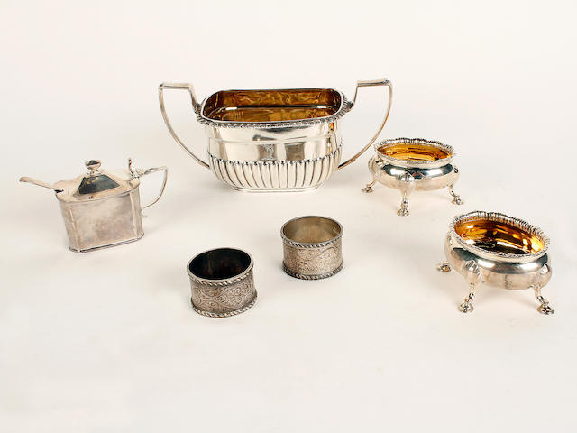 A silver twin handled sugar bowl London 1813  (6)