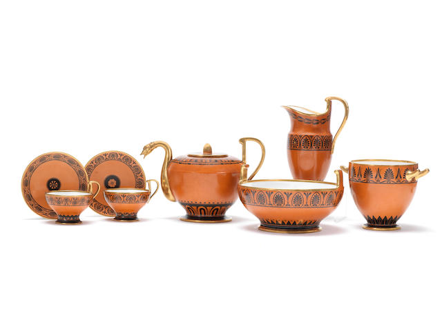 A very rare Sèvres ochre-ground part tea service, circa 1808