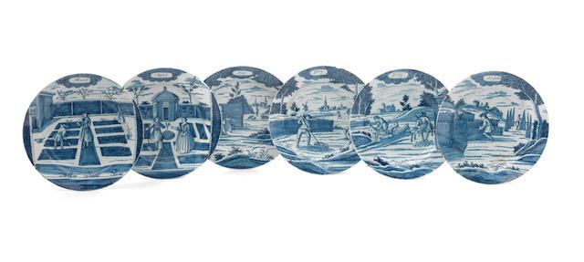 Six Dutch Delft calender plates, de Porceleyne Bijl, circa 1775