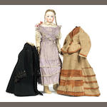 Jumeau bisque shoulder head fashion doll with clothes, circa 1870