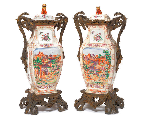 A pair of Chinese 'Mandarin-palette' flattened baluster vases The porcelain Qianlong, the mounts later European