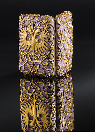 An important Imperial jewelled silver-gilt and enamel cigarette caseFabergé, workmaster August Holmström, c. 1897, scratched inventory number 56102