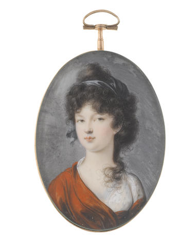 Peter Eduard Stroely (German, 1768-circa 1826) A Lady, wearing white dress and burnt umber stole, her dark hair partially upswept and dressed with a teal bandeau