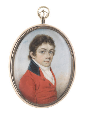 W. Thicke (British, active 1787-1814) A Gentleman, wearing scarlet coat with dark blue collar, white striped waistcoat, chemise, stock and cravat