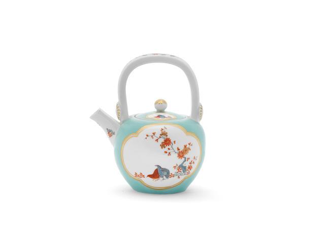 A very rare Meissen celadon-ground tea kettle and cover, circa 1730-35