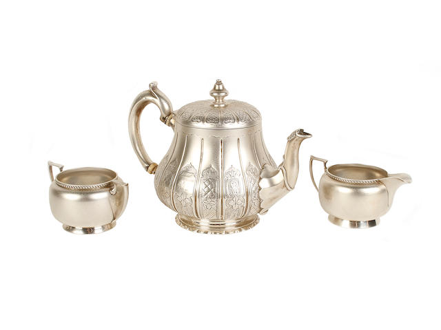 A Victorian silver teapot maker's mark 'W.M', London 1847  (3)
