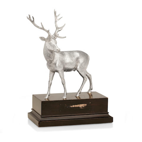 A silver stag with maker's mark of EB for Asprey & Co, London 1962