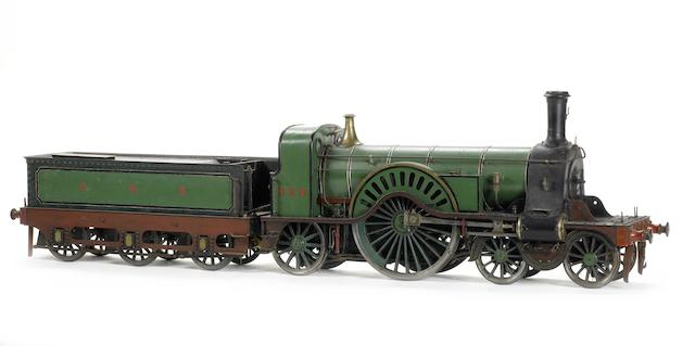 A 5in gauge model of the G.N.R Stirling Single 4-4-2 locomotive and tender