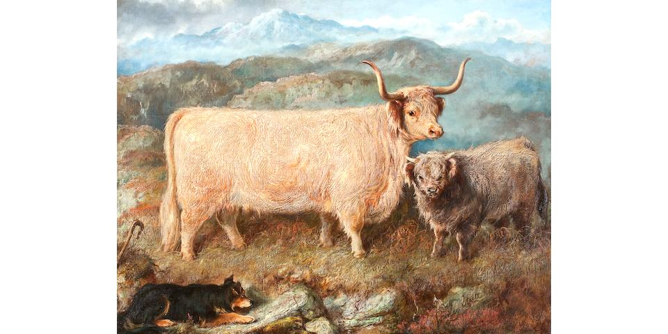 Gourlay Steel (British, 1819-1894) Gheal Chasach, prize highland cow,