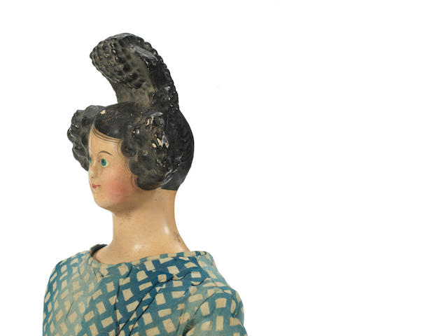 Papier-mache lady shoulder head doll, German circa 1840