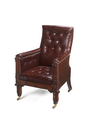 A Regency leather upholstered Library chair