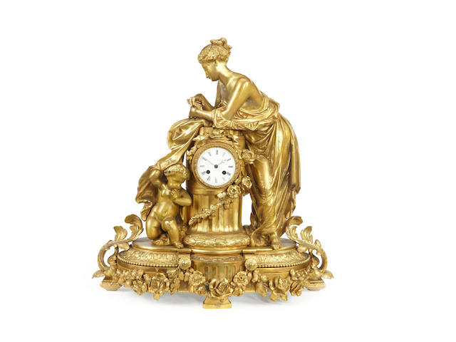 A large French late 19th century ormolu figural mantel clockby Philippe Mourey, Paris
