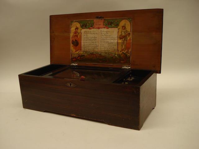A two per turn cylinder musical box, 24 air musical box Swiss, circa 1900,