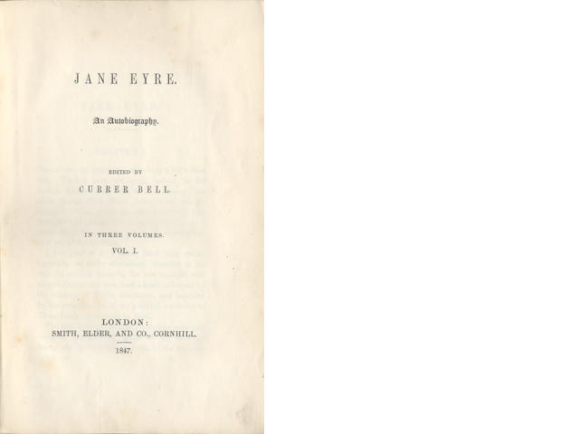 BRONTE (CHARLOTTE) Jane Eyre. An Autobiography, 3 vol., FIRST EDITION, ORIGINAL BOARDS, 1847