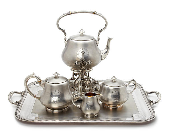 A French electroplated five piece tea service by Christofle, circa 1880