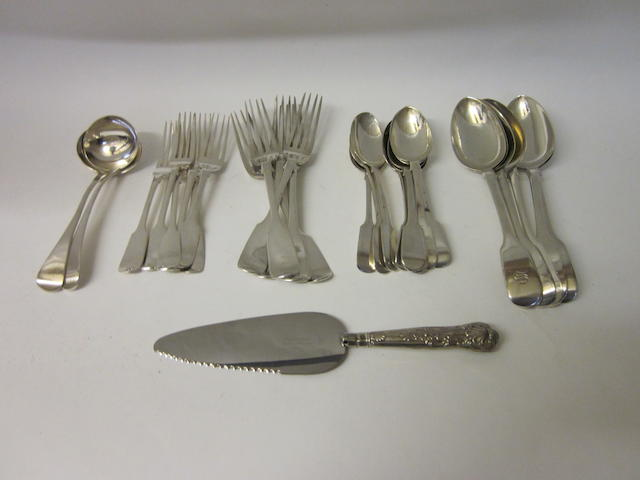 A composite canteen of silver Victorian fiddle pattern flatware Mixed dates, assay office and makers  (Qty)