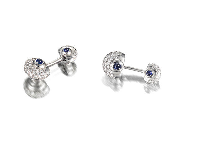 A pair of sapphire and diamond cufflinks, by Van Cleef & Arpels