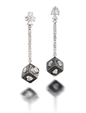 A pair of diamond 'dice' earrings