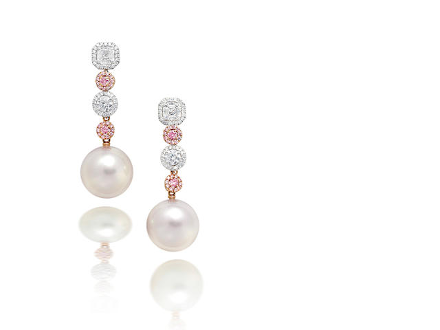 A pair of cultured pearl, coloured diamond and diamond earrings