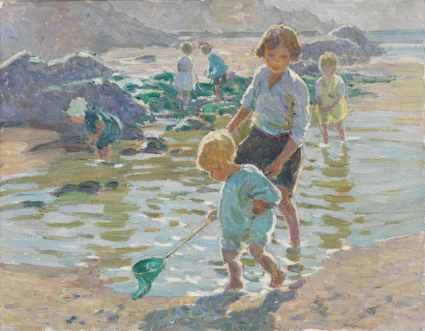 Dorothea Sharp (British, 1874-1955) Rock pooling 36.2 x 46.3 cm. (14 1/4 x 18 1/4 in.)
