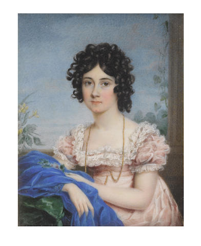 English School, circa 1820 A Lady, seated on a green upholstered sofa before a Classical column, wearing pale pink dress with white lace trim to her décolleté and sleeves, a long gold chain tucked into her pink waistbelt, ultramarine stole draped around her right forearm, her dark hair upswept and curled in tight ringlets, a posy of flowers in her left hand