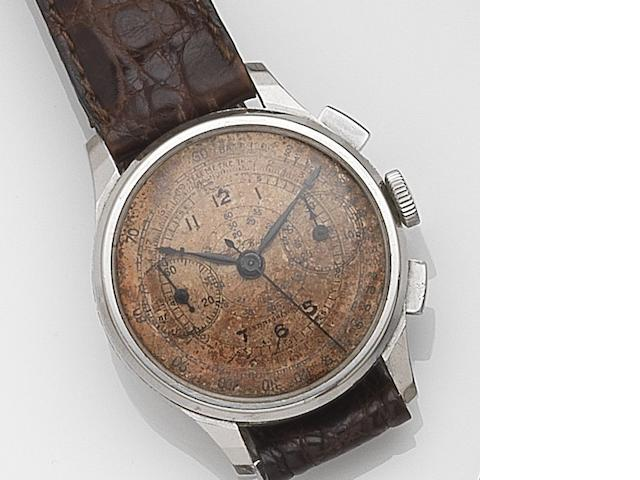 Paul Buhre. A stainless steel manual wind chronograph wristwatch Circa 1930