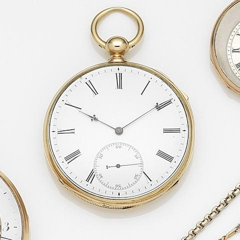 Swiss. An 18ct gold key wind open face quarter repeating pocket watch Circa 1820