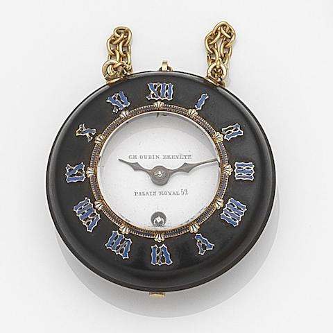 Charles Oudin, Palais Royale. A vulcanised rubber, gilt metal and enamel key wind half hunter pocket watch Movement No. 5583, Circa 1850