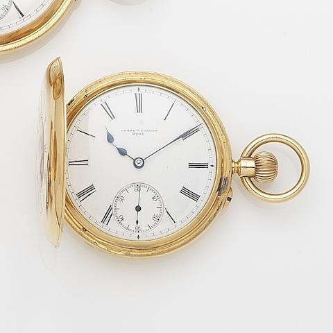 Donne & Son, London. An 18ct gold keyless wind half hunter pocket watch Case, Dial and Movement No.2201, London Hallmark for 1900