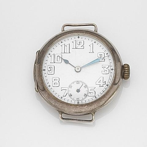 Rolex. A silver manual wind trench watch Case No.705718, London Hallmark for 1916