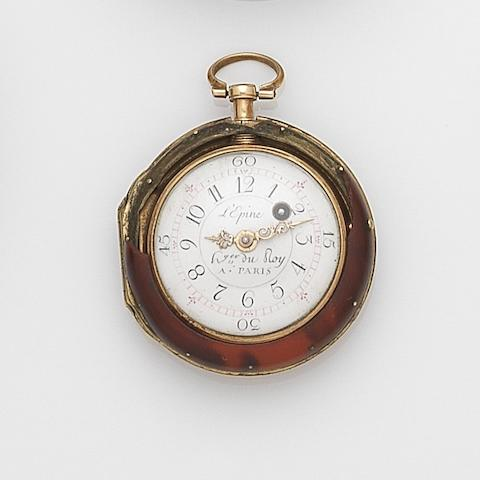 L'Epine. A gold key wind pair case fob watch Circa 1800