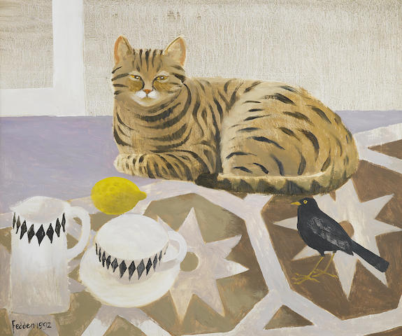 Mary Fedden R.A. (British, 1915-2012) Striped cat and blackbird 51.1 x 60.9 cm. (20 1/8 x 24 in.)