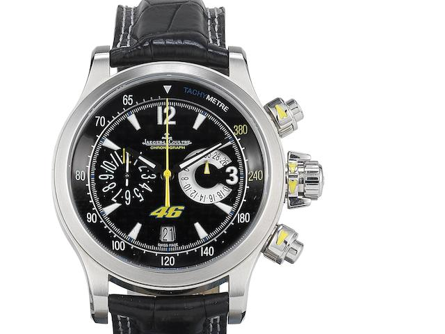 Jaeger LeCoultre. A stainless steel automatic calendar chronograph wristwatch with box and papers Master Compressor Valentino Rossi, Ref:146.8.25, No.425/746, Case No.2453893, Movement No.3440941, Sold 8th April 2011