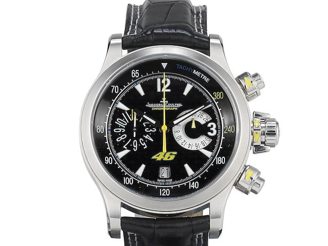 Jaeger LeCoultre. A stainless steel automatic calendar chronograph wristwatch with box and papersMaster Compressor Valentino Rossi, Ref:146.8.25, No.425/746, Case No.2453893, Movement No.3440941, Sold 8th April 2011